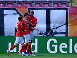 Fussball - 3.Bundesliga - Saison 2020/21<br /> Kaiserslautern -  Fritz-Walter-Stadion 03.04.2021<br /> 1. FC Kaiserslautern (fck)  - FC Halle (hal)<br /> Jubel nach dem 1:0: v.li: Anas ouahim, Torschütze Marvin POURIE(1. FC Kaiserslautern) und Felix GOETZE (fck)<br /> <br /> Foto © PIX-Sportfotos *** Foto ist honorarpflichtig! *** Auf Anfrage in hoeherer Qualitaet/Aufloesung. Belegexemplar erbeten. Veroeffentlichung ausschliesslich fuer journalistisch-publizistische Zwecke. For editorial use only. DFL regulations prohibit any use of photographs as image sequences and/or quasi-video.
