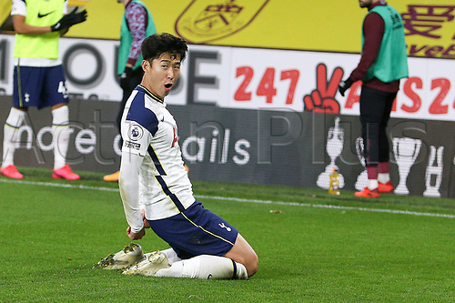 26th October 2020, Turf Moor, Burnley UK; EPL Premier League football, Burnley v Tottenham Hotspur; Goal 0-1 Tottenham Hotspur forward Son Heung-Min (7) celebrates scoring the winning goal 0-1