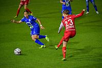 Rkia Mazrouai (2) of AA Gent , Debbie Decoene (23) of Zulte Waregem pictured during a female soccer game between AA Gent Ladies and SV Zulte-Waregem on the fifth matchday in the 2021 - 2022 season of Belgian Scooore Womens Super League , friday 1 October 2021  in Oostakker , Belgium . PHOTO SPORTPIX | STIJN AUDOOREN