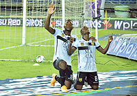PEREIRA - COLOMBIA,1-12-2020:Jader Obrián del Rionegro celebra gol contra Pereira.Deportivo Pereira y Águilas Doradas Rionegro durante partido de la fecha 2 por la Liguilla BetPlay DIMAYOR 2020 jugado en el estadio Hernán Ramírez Villegas de la ciudad de Pereira. / Jader Obrian celebrates after scoring a goal agaisnt Pereira.Deportivo Pereira and Aguilas Doradas Rionegro during a match of the 2st date for the BetPlay DIMAYOR Liguilla 2020 played at the  Hernán Ramirez Villegas Stadium in Pereira city. / Photos: VizzorImage / Pablo Bohórquez / Contribuidor