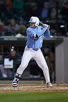 Dylan Enwiller (6) of the North Carolina Tar Heels at bat against the Charlotte 49ers at BB&T BallPark on March 27, 2018 in Charlotte, North Carolina. The Tar Heels defeated the 49ers 14-2. (Brian Westerholt/Four Seam Images)
