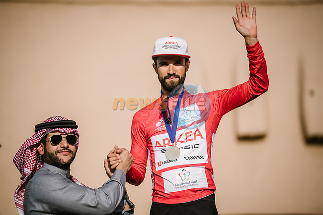 Nacer Bouhanni (FRA) Team Arkea Samsic wins the Points Red Jersey classification at the end of Stage 5 of the Saudi Tour 2020 running 144km from Princess Nourah University to Al Masmak, Saudi Arabia. 8th February 2020. <br /> Picture: ASO/Pauline Ballet | Cyclefile<br /> All photos usage must carry mandatory copyright credit (© Cyclefile | ASO/Pauline Ballet)