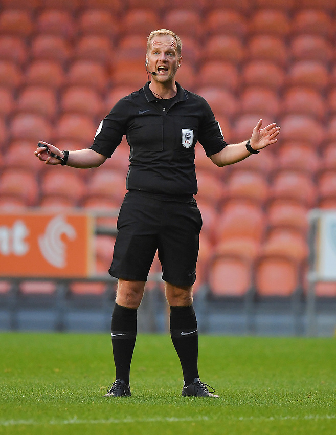 Referee Conor Brown<br /> <br /> Photographer Dave Howarth/CameraSport<br /> <br /> EFL Trophy Northern Section Group G - Blackpool v Barrow - Tuesday 8th September 2020 - Bloomfield Road - Blackpool<br />  <br /> World Copyright © 2020 CameraSport. All rights reserved. 43 Linden Ave. Countesthorpe. Leicester. England. LE8 5PG - Tel: +44 (0) 116 277 4147 - admin@camerasport.com - www.camerasport.com