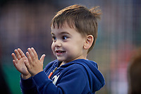 Batavia Muckdogs young fan cheers during a NY-Penn League game against the Auburn Doubledays on June 14, 2019 at Dwyer Stadium in Batavia, New York.  Batavia defeated 2-0.  (Mike Janes/Four Seam Images)