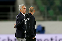 ST. GALLEN, SWITZERLAND - MAY 30: Vladimir Petkovic head coach of Switzerland and Gregg Berhalter head coach of the United States have a few  words with one another after the game during a game between Switzerland and USMNT at Kybunpark on May 30, 2021 in St. Gallen, Switzerland.