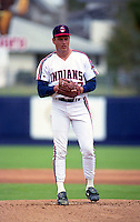 Cleveland Indians pitcher Mike Bielecki (37) during Spring Training 1993 at Chain of Lakes Park in Winter Haven, Florida.  (MJA/Four Seam Images)