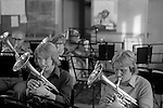 The  Frickley Colliery Band  rehearsals. South Kirkby Colliery, Yorkshire  England. 1979. <br /> <br /> Front Row. Left to right ?? and Brian Till.<br />  <br /> IF YOU KNOW THE NAMES OF ANY OF THE MEN IN THESE IMAGES PLEASE LET ME KNOW, I WOULD LIKE TO BE ABLE TO PUT A NAME TO A FACE. THANKS.