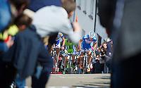 Marco Minnaard (NLD/Wanty-Groupe Gobert) up the Côte de Saint-Roche while fans flock up the road ahead<br /> <br /> Liège-Bastogne-Liège 2014