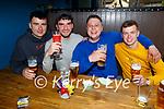 Enjoying a few drinks in K Town in Killarney on Monday, l to r: Bruno Fernadas, Sean O'Malley, Shane Lavers and Eoghan Kennedy.
