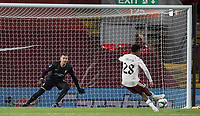 1st October 2020; Anfield, Liverpool, Merseyside, England; English Football League Cup, Carabao Cup, Liverpool versus Arsenal; Joe Willock of Arsenal scores the decisive penalty