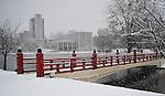 Big Spring International Park Japanese Bridge in snow on Christmas Day Dec. 25, 2010.  Bob Gathany Photographer