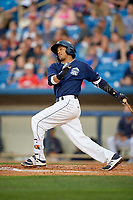 Lake County Captains third baseman Jorma Rodriguez (47) follows through on a swing during the second game of a doubleheader against the West Michigan Whitecaps on August 6, 2017 at Classic Park in Eastlake, Ohio.  West Michigan defeated Lake County 9-0.  (Mike Janes/Four Seam Images)