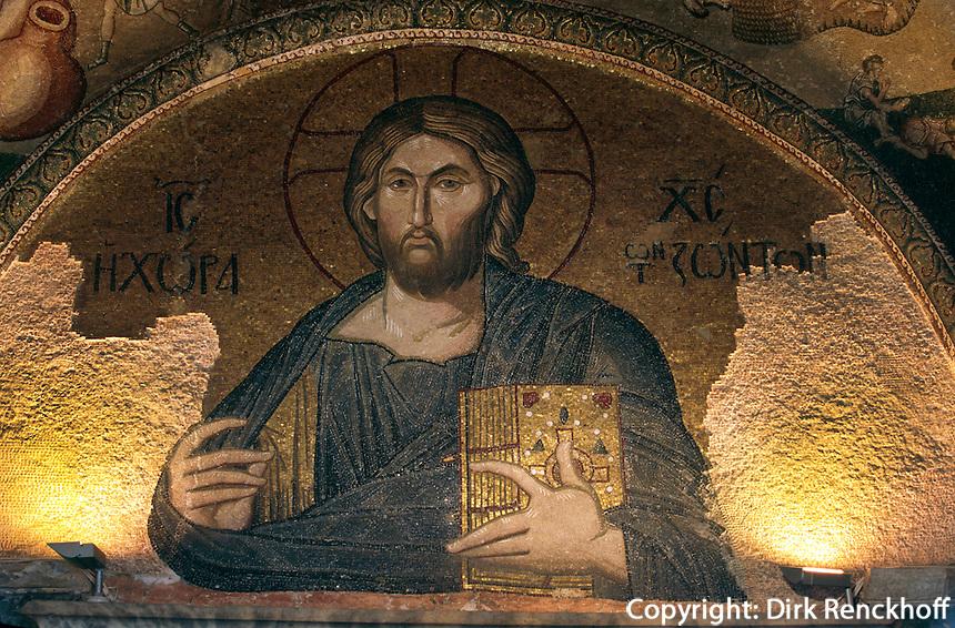 Türkei, Pantokrator-Mosaik in der  byzantinischen Chora-Kirche (Kariye Müzesi) in Istanbul , UNESCO-Weltkulturerbe