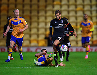 Lincoln City's Jorge Grant vies for possession with Mansfield Town's Tyrese Sinclair<br /> <br /> Photographer Andrew Vaughan/CameraSport<br /> <br /> EFL Trophy Northern Section Group E - Mansfield Town v Lincoln City - Tuesday 6th October 2020 - Field Mill - Mansfield  <br />  <br /> World Copyright © 2020 CameraSport. All rights reserved. 43 Linden Ave. Countesthorpe. Leicester. England. LE8 5PG - Tel: +44 (0) 116 277 4147 - admin@camerasport.com - www.camerasport.com