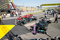 parc ferme, 77 BOTTAS Valtteri (fin), Mercedes AMG F1 GP W12 E Performance, 44 HAMILTON Lewis (gbr), Mercedes AMG F1 GP W12 E Performance, 16 LECLERC Charles (mco), Scuderia Ferrari SF21, during the Formula 1 Pirelli British Grand Prix 2021, 10th round of the 2021 FIA Formula One World Championship from July 16 to 18, 2021 on the Silverstone Circuit, in Silverstone, United Kingdom - <br /> Formula 1 GP Great Britain Silverstone 18/07/2021<br /> Photo DPPI/Panoramic/Insidefoto <br /> ITALY ONLY