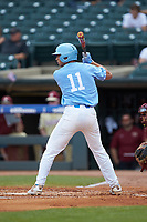 Cody Roberts (11) of the North Carolina Tar Heels at bat against the Florida State Seminoles in the 2017 ACC Baseball Championship Game at Louisville Slugger Field on May 28, 2017 in Louisville, Kentucky. The Seminoles defeated the Tar Heels 7-3. (Brian Westerholt/Four Seam Images)