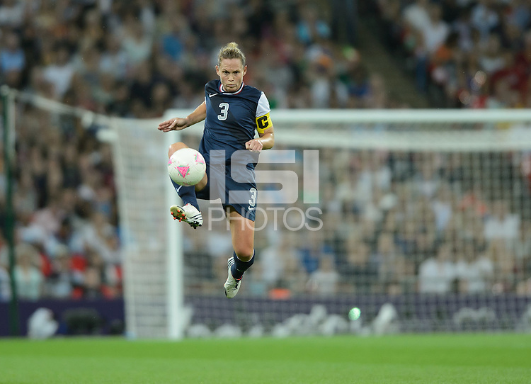 London, England - Thursday, August 9, 2012: The USA defeated Japan 2-1 to win the London 2012 Olympic gold medal at Wembley Arena. Christie Rampone controls the ball.