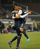 Clint Dempsey (l, USA), Danny Williams (USA) celebrate, during the friendly match Italy against USA at the Stadium Luigi Ferraris at Genoa Italy on february the 29th, 2012.