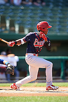 Peoria Chiefs designated hitter Magneuris Sierra (34) at bat during the second game of a doubleheader against the South Bend Cubs on July 25, 2016 at Four Winds Field in South Bend, Indiana.  South Bend defeated Peoria 9-2.  (Mike Janes/Four Seam Images)