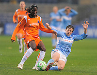 Sky Blue FC player Anita Asante and Red Stars player Megan Rapinoe  both fight for the ball during their game. Sky Blue FC tied Chicago Red Stars 0-0 on April 19, 2009.