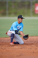 Andre Vidal  (7) during the WWBA World Championship at the Roger Dean Complex on October 11, 2019 in Jupiter, Florida.  Andre Vidal attends Doral Academy Charter High School in Miami, FL and is Uncommitted.  (Mike Janes/Four Seam Images)