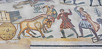 Ambulatory of the Great Hunt Roman mosaic, Wagons being pulled by bullocks, room no 28, at the Villa Romana del Casale, first quarter of the 4th century AD. Sicily, Italy. A UNESCO World Heritage Site.<br /> <br /> The Great Hunt ambulatory is around 60 meters long (200 Roman feet) and connects the master's northern apartments with the triclinium in the south. The door in the centre of the the Great Hunt ambulatory leads to audience hall. <br /> <br /> The Great Hunt Roman mosaic depicts African animals being hunted and put onto ships to be taken to the Colosseum.