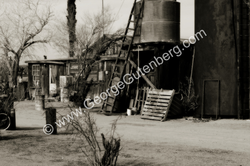 Black and white picture of old homestead
