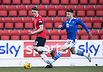 St Johnstone v Clyde…17.04.21   McDiarmid Park   Scottish Cup<br />Craig Howie and Glenn MIddleton<br />Picture by Graeme Hart.<br />Copyright Perthshire Picture Agency<br />Tel: 01738 623350  Mobile: 07990 594431
