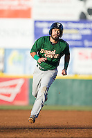 Luis Guillorme (13) of the Savannah Sand Gnats hustles towards third base against the Hickory Crawdads at L.P. Frans Stadium on June 15, 2015 in Hickory, North Carolina.  The Crawdads defeated the Sand Gnats 4-1.  (Brian Westerholt/Four Seam Images)