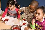 Education preschool 4 year olds breakfast children serving themselves how cereal jam and milk horizontal