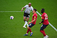 André Ayew of Swansea City has a shot during the Sky Bet Championship match between Swansea City and Huddersfield Town at the Liberty Stadium in Swansea, Wales, UK. Saturday 17 October 2020