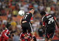 WASHINGTON, DC. - AUGUST 22, 2012:  Dwayne DeRosario (7) and Lionard Pajoy (26) of DC United against the Chicago Fire during an MLS match at RFK Stadium, in Washington DC,  on August 22. United won 4-2.