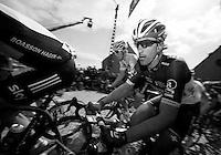 De Ronde van Vlaanderen 2012..Fabian Cancellara turning up the top of the Paterberg