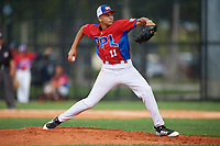Gerardo Hernandez (11) during the Dominican Prospect League Elite Florida Event at Pompano Beach Baseball Park on October 14, 2019 in Pompano beach, Florida.  (Mike Janes/Four Seam Images)