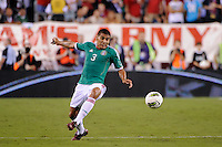 Carlos Salcido (3) of Mexico. The men's national teams of the United States (USA) and Mexico (MEX) played to a 1-1 tie during an international friendly at Lincoln Financial Field in Philadelphia, PA, on August 10, 2011.