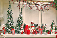 Christmas decorations on fireplace mantle. Al's Nursery. Woodburn. Oregon