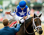 LOUISVILLE, KY - MAY 07: Tepin #1, ridden by Julien Leparoux, is congratulated after winning the Churchill Distaff Turf Mile on May 7, 2016 in Louisville, Kentucky. (Photo by Scott Serio/Eclipse Sportswire/Getty Images)