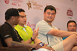 (L-R) Allen Iverson, Ken Chu, Yao Ming, Tenniel Chu, Boris Becker during Sports Legends Press Conference on the sidelines of the World Celebrity Pro-Am 2016 Mission Hills China Golf Tournament on 22 October 2016, in Haikou, China. Photo by Weixiang Lim / Power Sport Images
