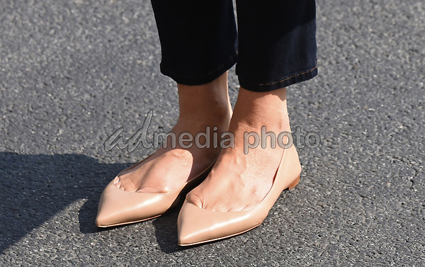Close-up of first lady Melania Trump's shoes as she walks from Marine One upon arrival on the South Lawn of the White House in Washington, DC, September 10, 2017, after spending the weekend at Camp David, the Presidential retreat near Thurmont, Maryland. Photo Credit: Olivier Douliery/CNP/AdMedia