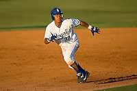 Shortstop Yeldrys Molina (37) of the Burlington Royals takes off for third base at Burlington Athletic Park in Burlington, NC, Monday August 11, 2008. (Photo by Brian Westerholt / Four Seam Images)