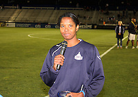 Briana Scurry #1 of the Washington Freedom announcing her retirement during a WPS match against the Atlanta Beat at Maryland Soccerplex on September 11 2010, in Boyds, Maryland. Freedom won 1-0.