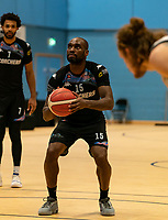 Tayo Ogedengbe of Surrey Scorchers with a free-throw during the BBL Championship match between Surrey Scorchers and Newcastle Eagles at Surrey Sports Park, Guildford, England on 20 March 2021. Photo by Liam McAvoy.