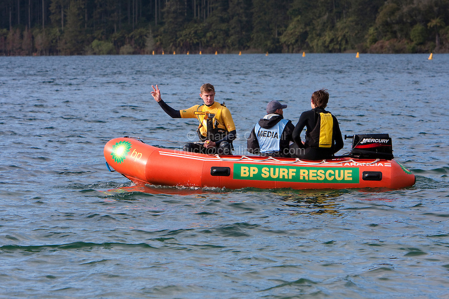 Water Safety Team ready for Triathlon Participants, Blue Lake, Rotorua, New Zealand.