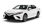 2019 Toyota Camry Hybrid SE 4 Door Sedan angular front stock photos of front three quarter view