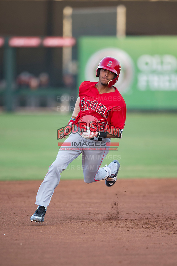 AZL Angels shortstop Jeremiah Jackson (8) rounds second base for a lead-off triple during an Arizona League game against the AZL Padres 2 at Tempe Diablo Stadium on July 18, 2018 in Tempe, Arizona. The AZL Padres 2 defeated the AZL Angels 8-1. (Zachary Lucy/Four Seam Images)