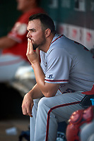 Syracuse Chiefs starting pitcher David Goforth (32) in the dugout during a game against the Buffalo Bisons on July 6, 2018 at Coca-Cola Field in Buffalo, New York.  Buffalo defeated Syracuse 6-4.  (Mike Janes/Four Seam Images)