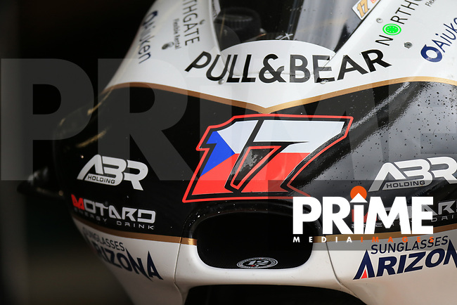 General View of Karel Abraham (17) of the Angel Nieto Team (Ducati) race team's motorcycle during the GoPro British MotoGP at Silverstone Circuit, Towcester, England on 26 August 2018. Photo by Chris Brown / PRiME Media Images