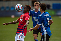 SAN JOSE, CA - APRIL 24: Jader Obrian #7 of FC Dallas heads the ball during a game between FC Dallas and San Jose Earthquakes at PayPal Park on April 24, 2021 in San Jose, California.