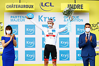 1st July 2021; Chateauroux, France; POGACAR Tadej (SLO) of UAE TEAM EMIRATES in white after stage 6 of the 108th edition of the 2021 Tour de France cycling race, a stage of 160,6 kms between Tours and Chateauroux on July 1