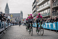 Drapac Cannondale teammates Sebastian Langeveld (NED) and Sep Vanmarcke (BEL) on their way to the sign-on stage.<br /> <br /> 81st Gent-Wevelgem in Flanders Fields (1.UWT)<br /> Deinze > Wevelgem (251km)